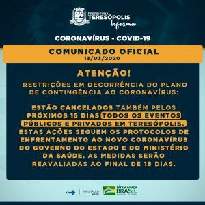 Cancelamento de todos eventos públicos e privados em Teresópolis