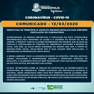 Comunicado oficial do Covid 19 em Teresópolis