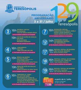 Teresópolis RJ completa 129 anos com programação virtual
