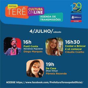 Terê Cultura Online dia 04 de julho - Teresópolis RJ