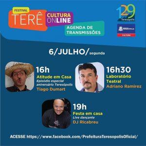 Terê Cultura Online dia 06 de julho - Teresópolis RJ