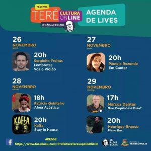 Terê Cultura online – Lives de 26 à 29. Teresópolis Total